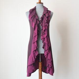 Nic + Zoe Longline Scrollwork Ruffle Sweater Vest